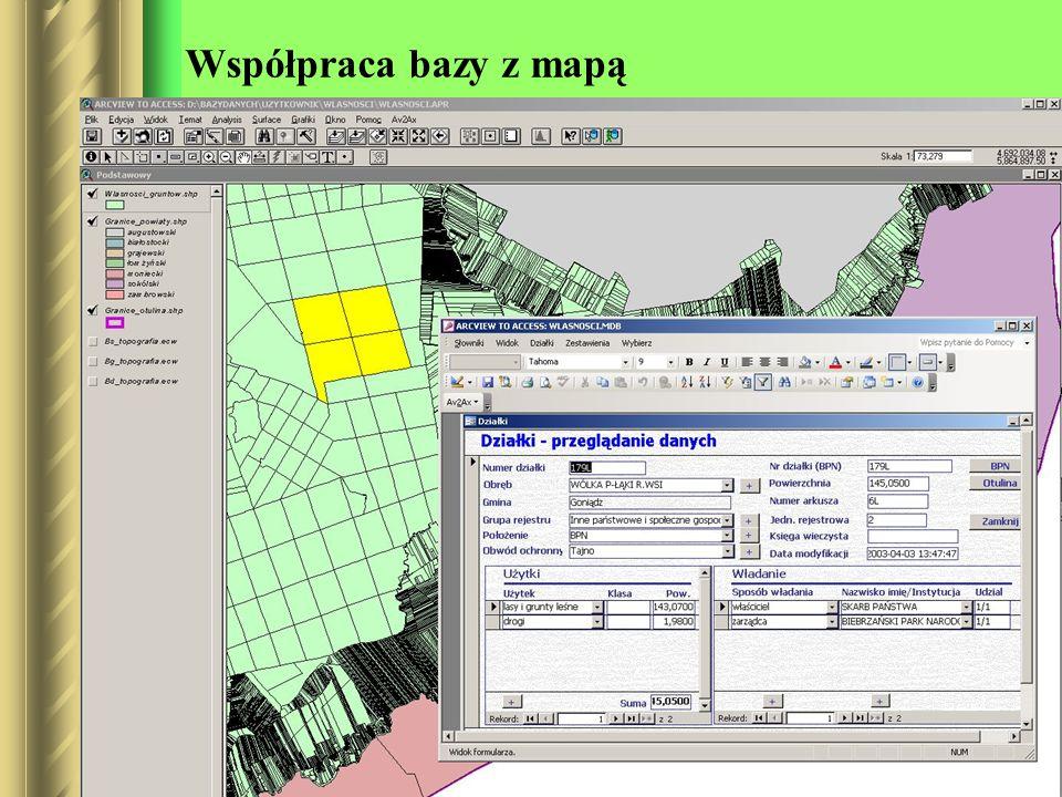 Współpraca bazy z mapą