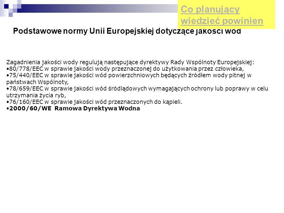 Podstawowe normy Unii Europejskiej dotyczące jakości wód
