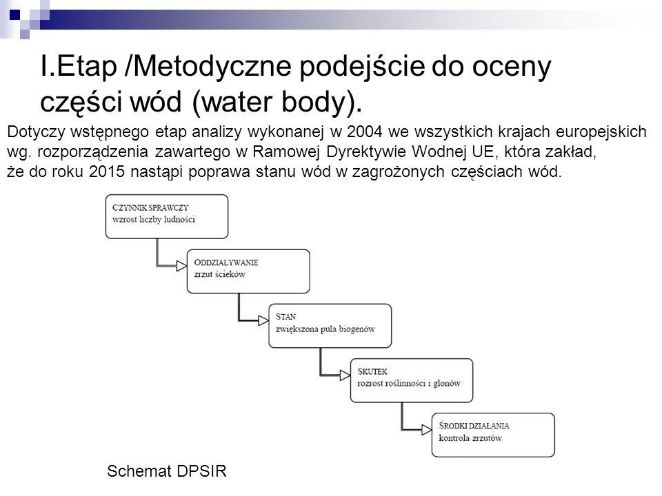 I.Etap /Metodyczne podejście do oceny części wód (water body).