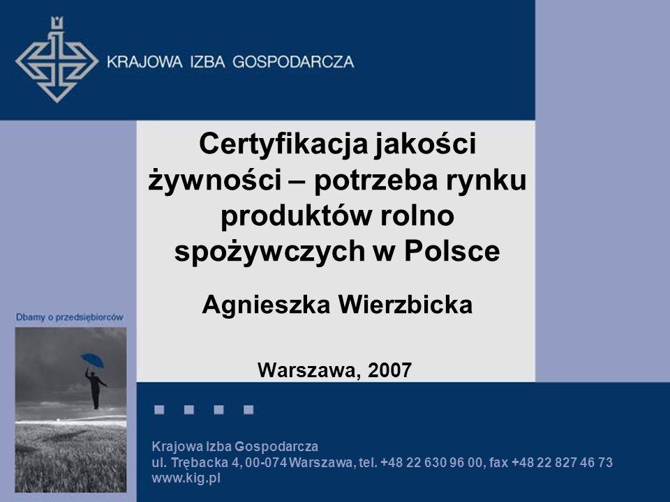 Certyfikacja jakości żywności – potrzeba rynku produktów rolno spożywczych w Polsce Agnieszka Wierzbicka