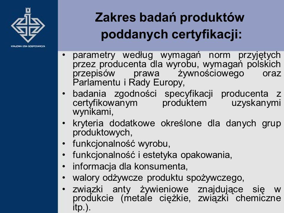 Zakres badań produktów poddanych certyfikacji: