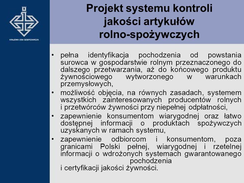 Projekt systemu kontroli jakości artykułów rolno-spożywczych