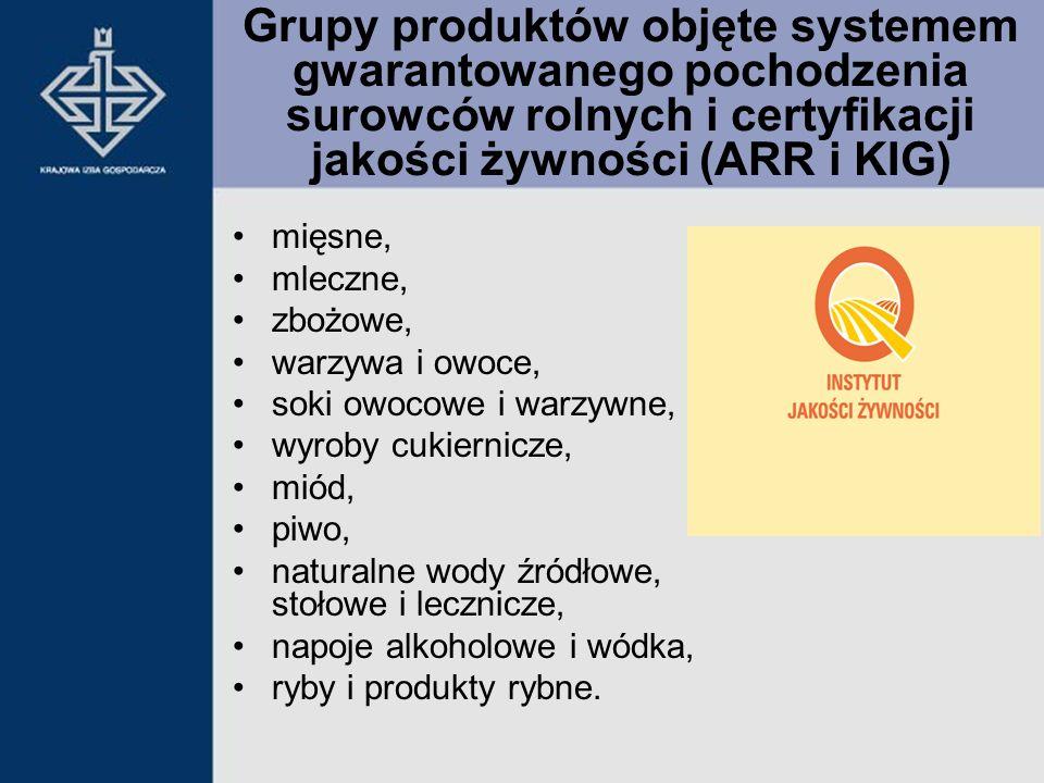 Grupy produktów objęte systemem gwarantowanego pochodzenia surowców rolnych i certyfikacji jakości żywności (ARR i KIG)
