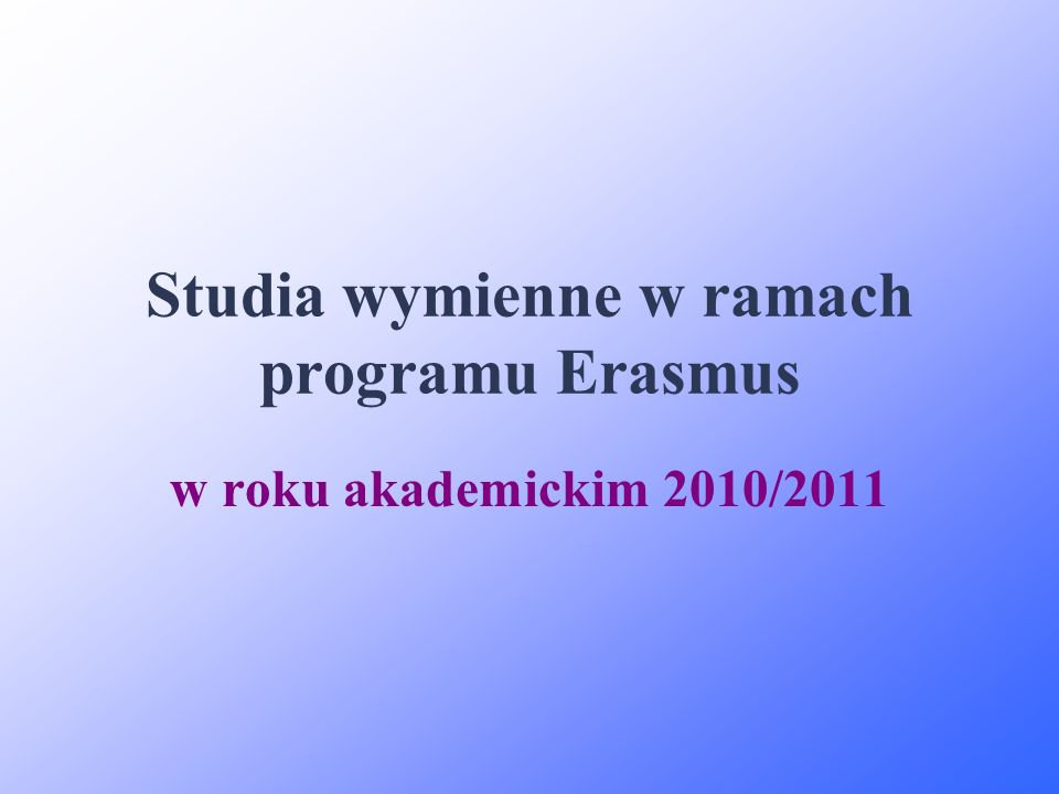 Studia wymienne w ramach programu Erasmus