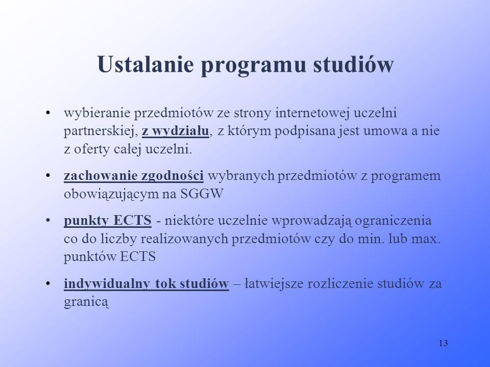 Ustalanie programu studiów
