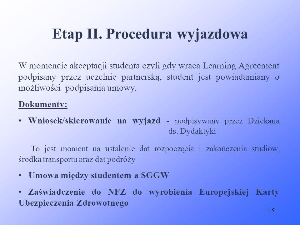 Etap II. Procedura wyjazdowa