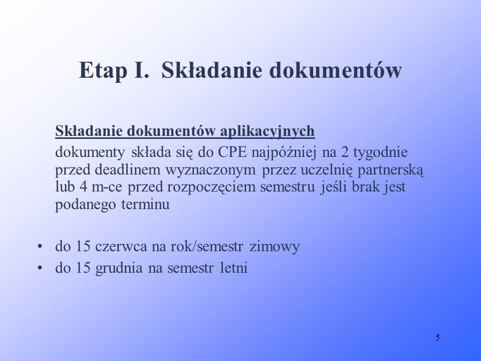 Etap I. Składanie dokumentów
