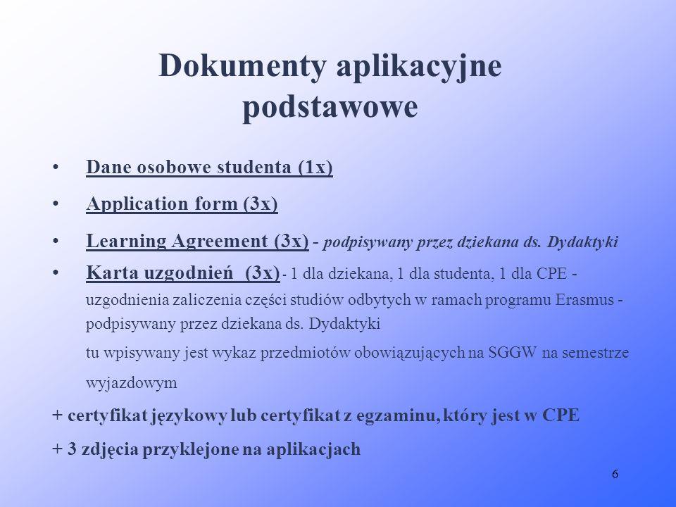 Dokumenty aplikacyjne podstawowe