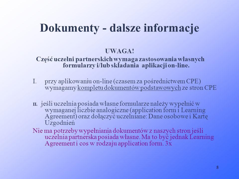 Dokumenty - dalsze informacje