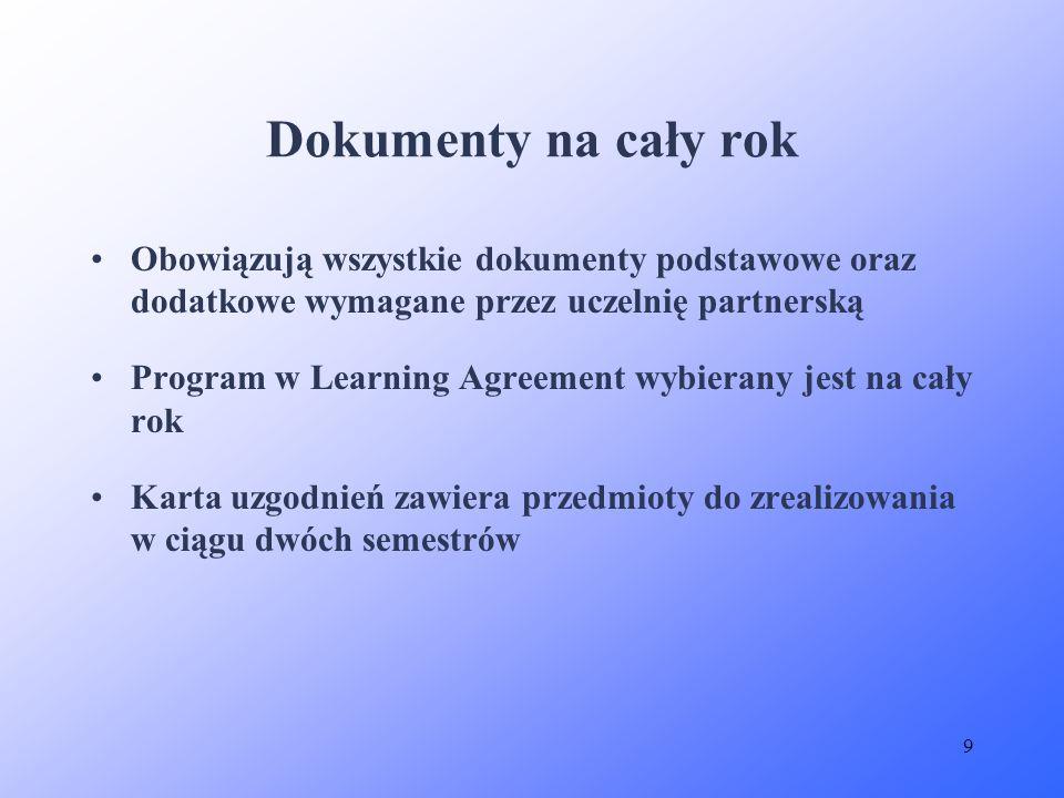 Dokumenty na cały rok Obowiązują wszystkie dokumenty podstawowe oraz dodatkowe wymagane przez uczelnię partnerską.