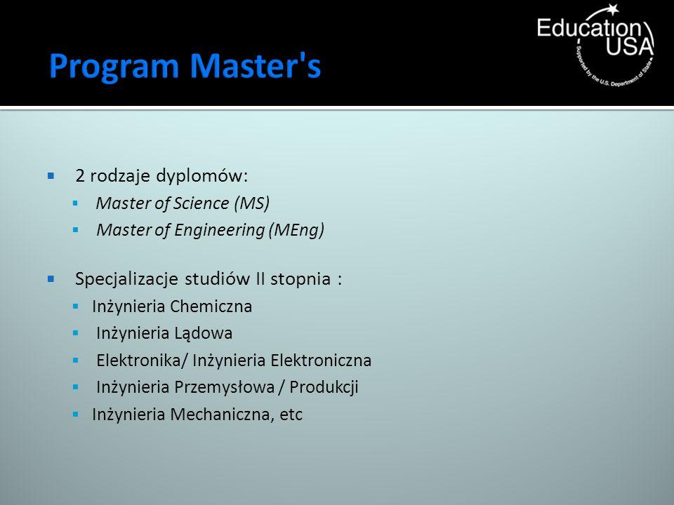 Program Master s 2 rodzaje dyplomów: