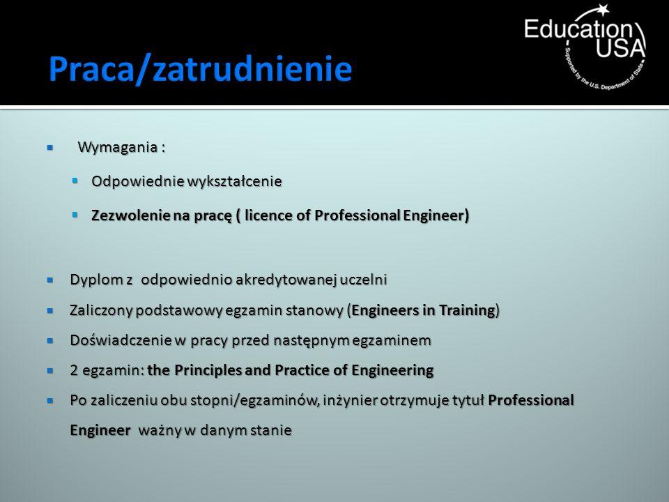 Praca/zatrudnienie Wymagania : Odpowiednie wykształcenie