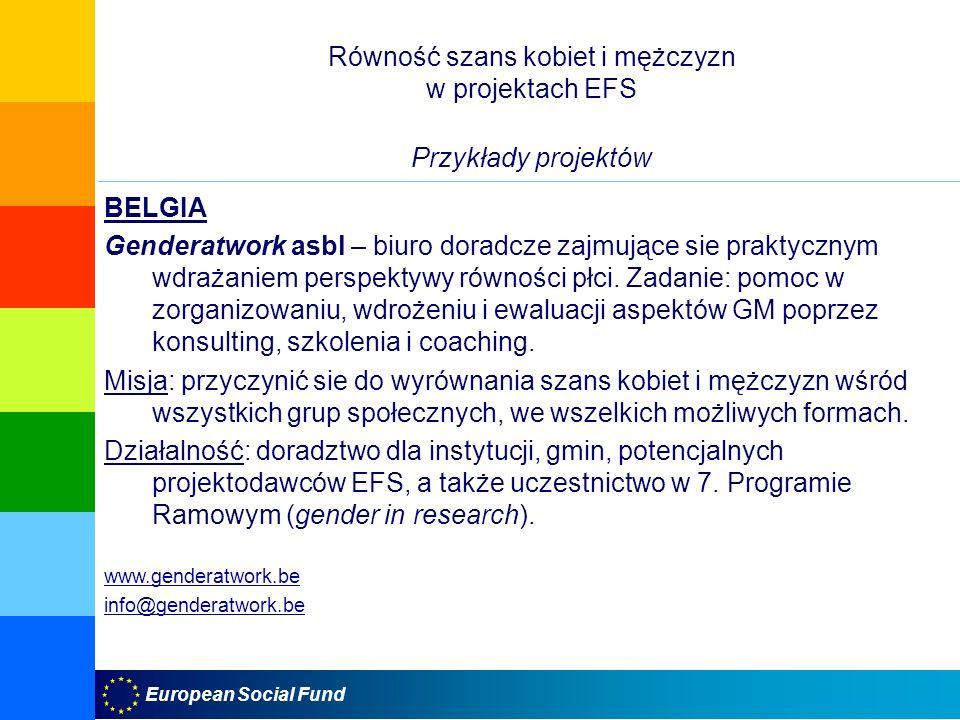 Równość szans kobiet i mężczyzn w projektach EFS Przykłady projektów