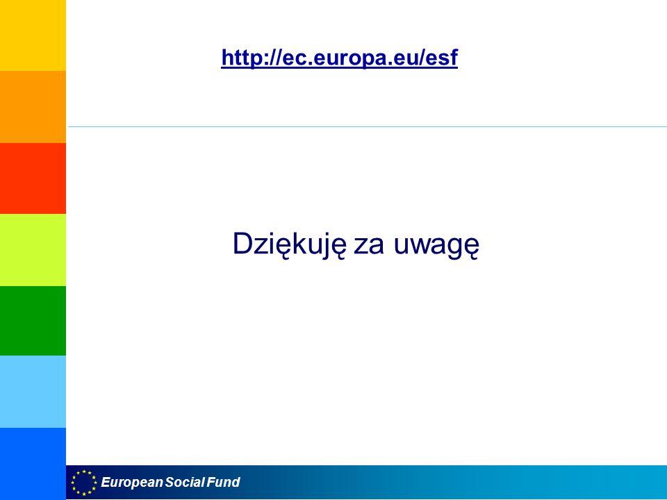 http://ec.europa.eu/esf Dziękuję za uwagę