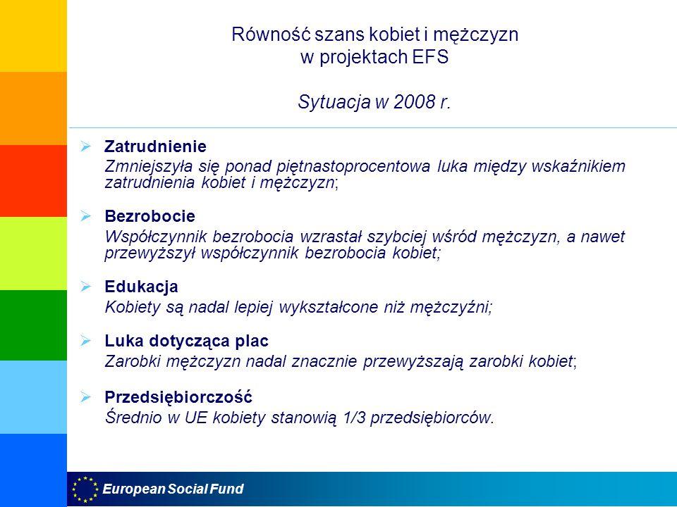 Równość szans kobiet i mężczyzn w projektach EFS Sytuacja w 2008 r.