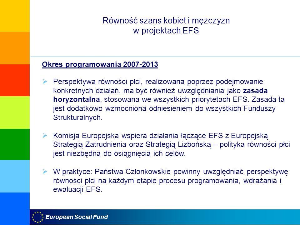 Równość szans kobiet i mężczyzn w projektach EFS