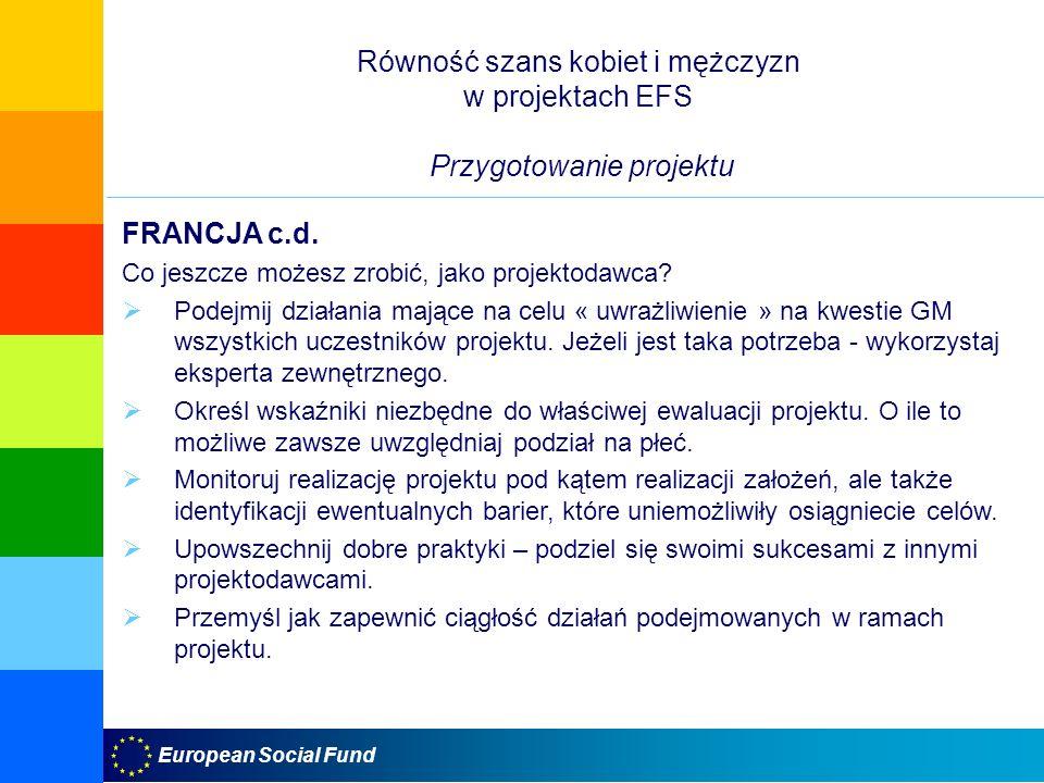 Równość szans kobiet i mężczyzn w projektach EFS Przygotowanie projektu