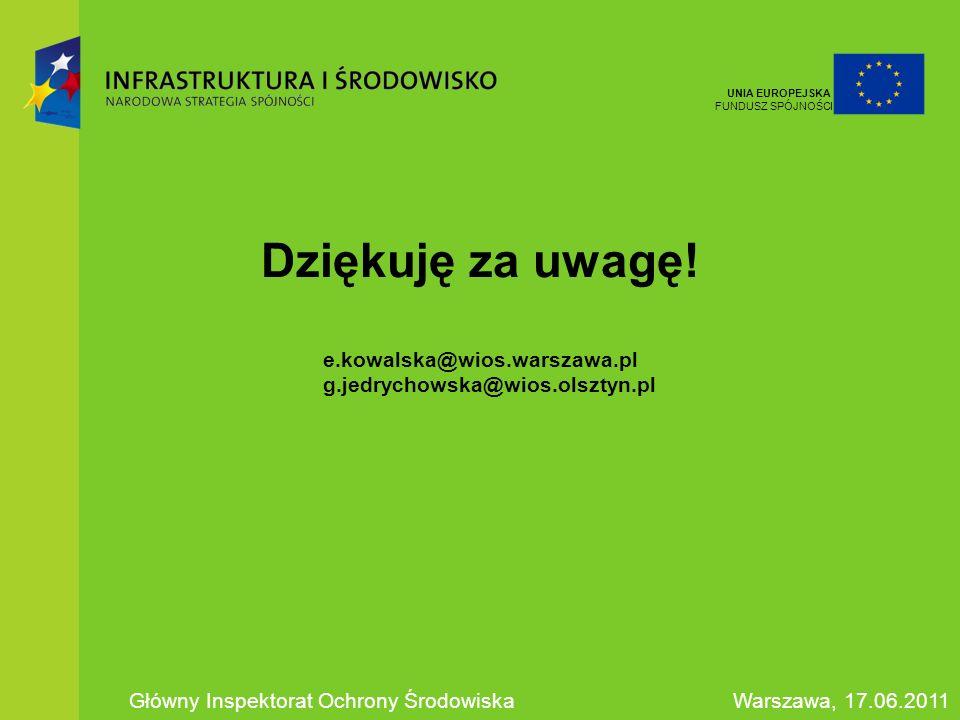 Unia Europejska Fundusz Spójności. Dziękuję za uwagę! e.kowalska@wios.warszawa.pl g.jedrychowska@wios.olsztyn.pl.