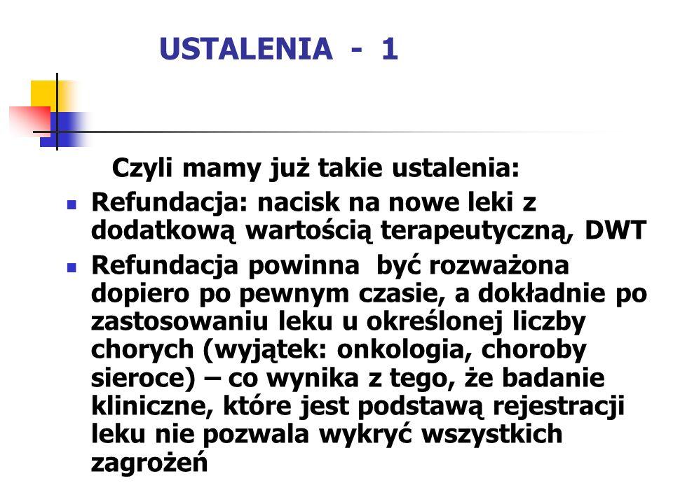 USTALENIA - 1 Czyli mamy już takie ustalenia: