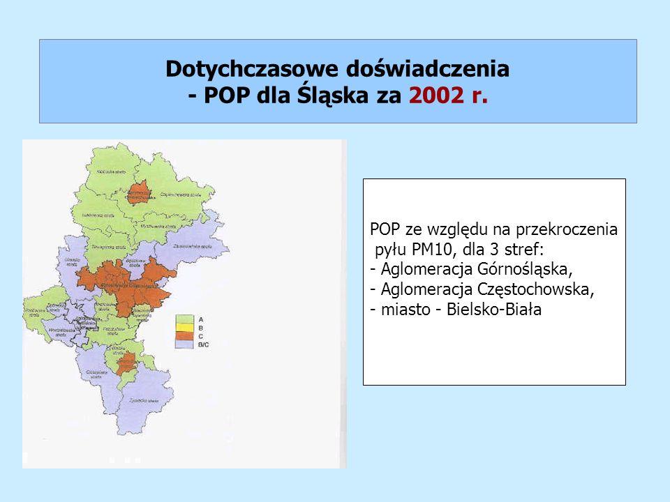 Dotychczasowe doświadczenia - POP dla Śląska za 2002 r.