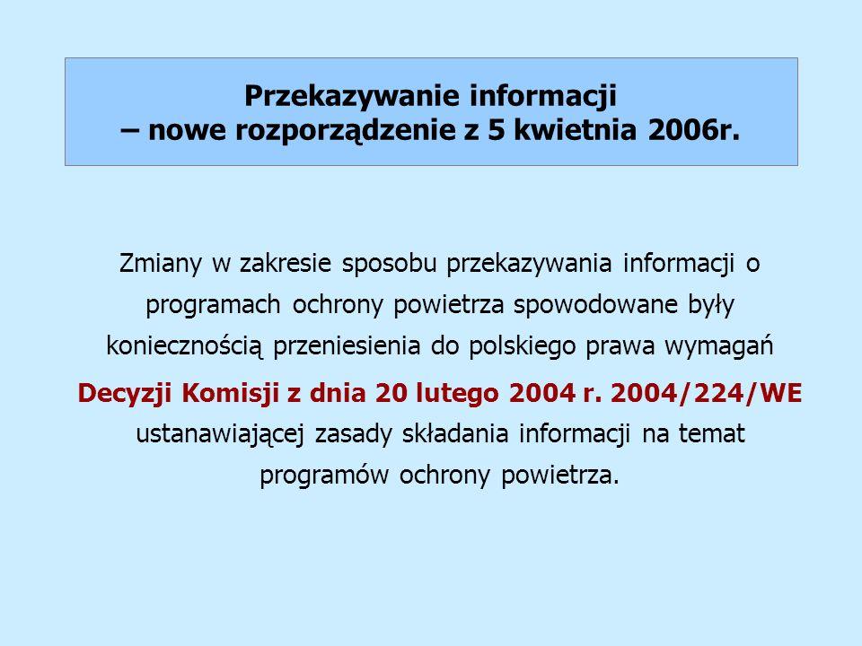 Przekazywanie informacji – nowe rozporządzenie z 5 kwietnia 2006r.