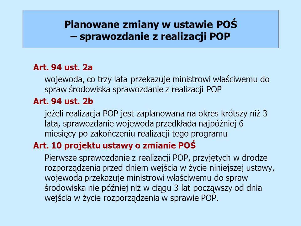 Planowane zmiany w ustawie POŚ – sprawozdanie z realizacji POP