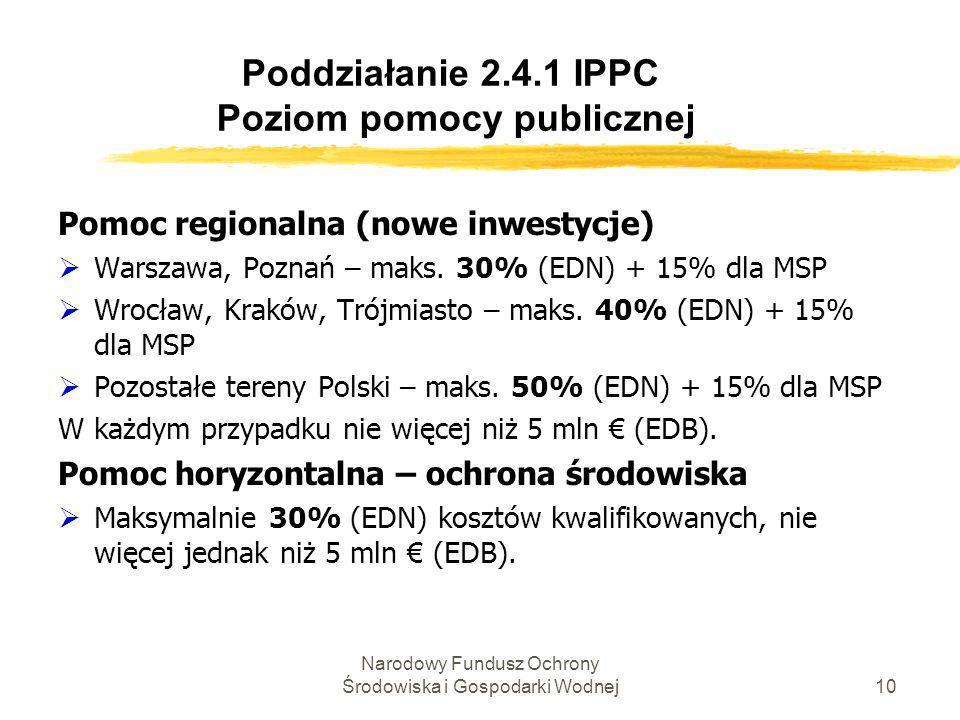 Poddziałanie 2.4.1 IPPC Poziom pomocy publicznej