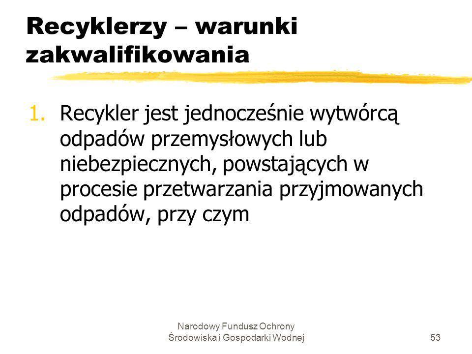 Recyklerzy – warunki zakwalifikowania