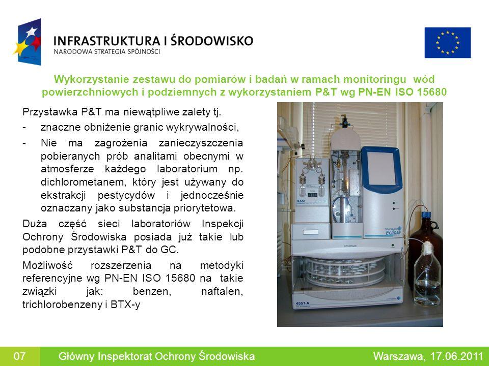 Wykorzystanie zestawu do pomiarów i badań w ramach monitoringu wód powierzchniowych i podziemnych z wykorzystaniem P&T wg PN-EN ISO 15680