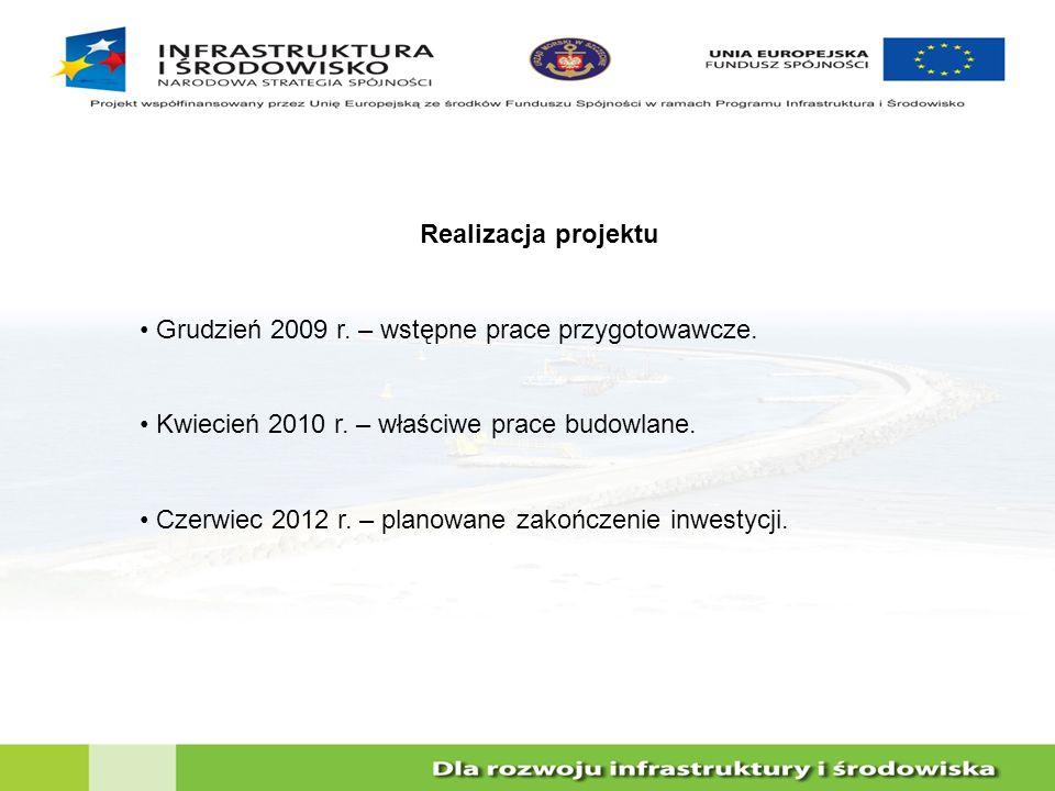 Realizacja projektu Grudzień 2009 r. – wstępne prace przygotowawcze. Kwiecień 2010 r. – właściwe prace budowlane.