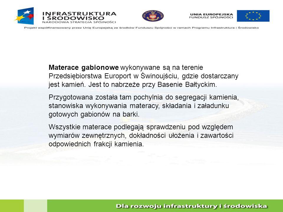 Materace gabionowe wykonywane są na terenie Przedsiębiorstwa Europort w Świnoujściu, gdzie dostarczany jest kamień. Jest to nabrzeże przy Basenie Bałtyckim.