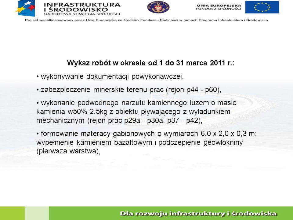 Wykaz robót w okresie od 1 do 31 marca 2011 r.: