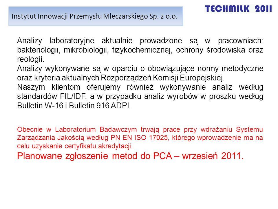Planowane zgłoszenie metod do PCA – wrzesień 2011.