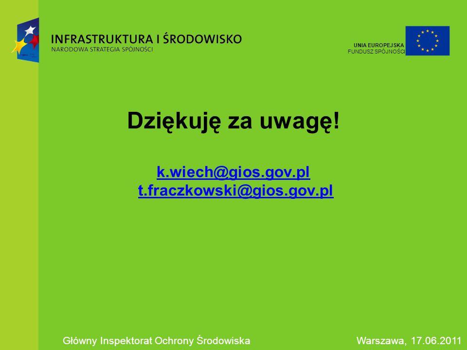 Dziękuję za uwagę! k.wiech@gios.gov.pl t.fraczkowski@gios.gov.pl