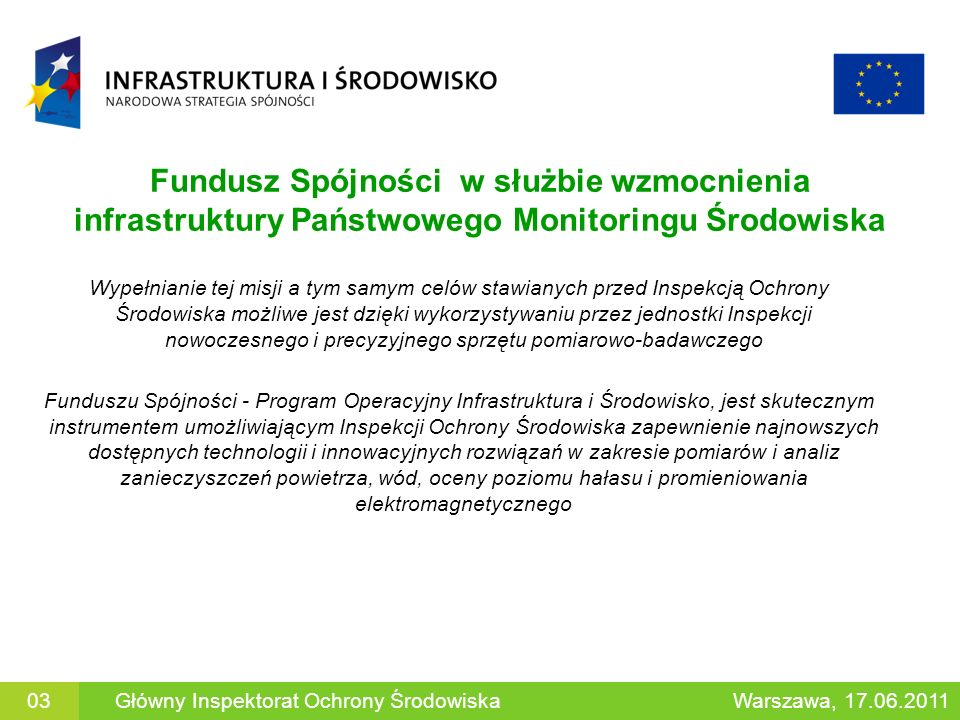 Fundusz Spójności w służbie wzmocnienia infrastruktury Państwowego Monitoringu Środowiska