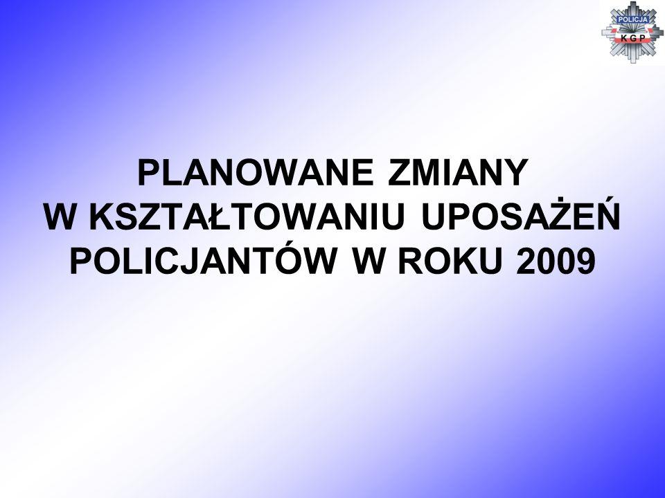 PLANOWANE ZMIANY W KSZTAŁTOWANIU UPOSAŻEŃ POLICJANTÓW W ROKU 2009