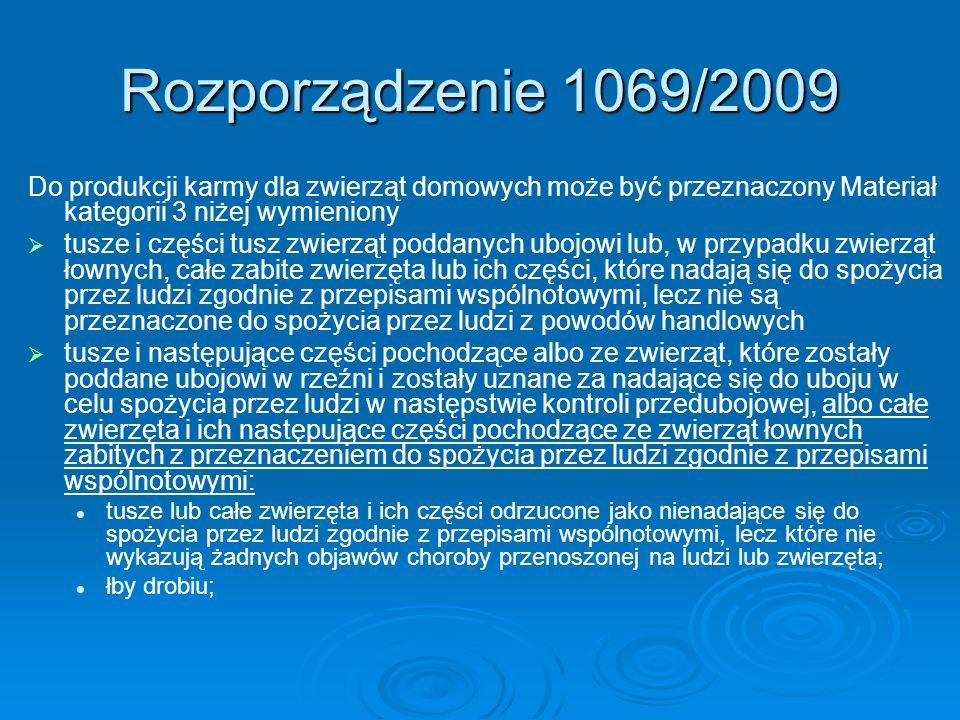 Rozporządzenie 1069/2009Do produkcji karmy dla zwierząt domowych może być przeznaczony Materiał kategorii 3 niżej wymieniony.