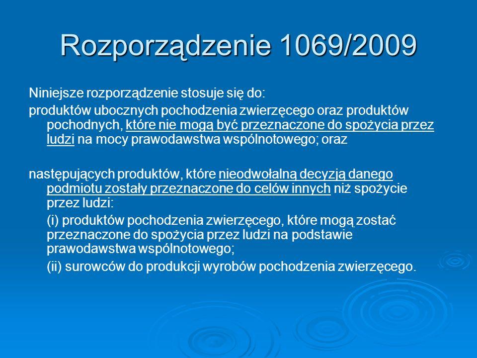 Rozporządzenie 1069/2009 Niniejsze rozporządzenie stosuje się do: