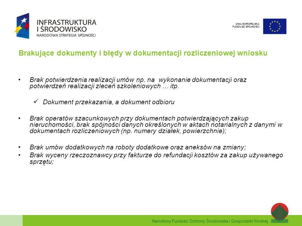 Brakujące dokumenty i błędy w dokumentacji rozliczeniowej wniosku