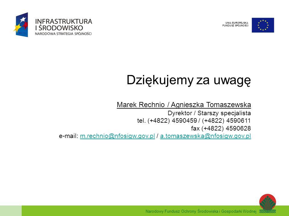 Dziękujemy za uwagę Marek Rechnio / Agnieszka Tomaszewska