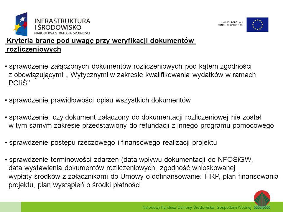 Kryteria brane pod uwagę przy weryfikacji dokumentów