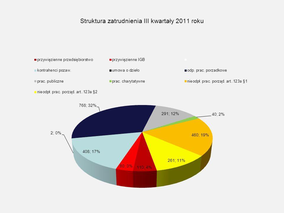 Struktura zatrudnienia III kwartały 2011 roku