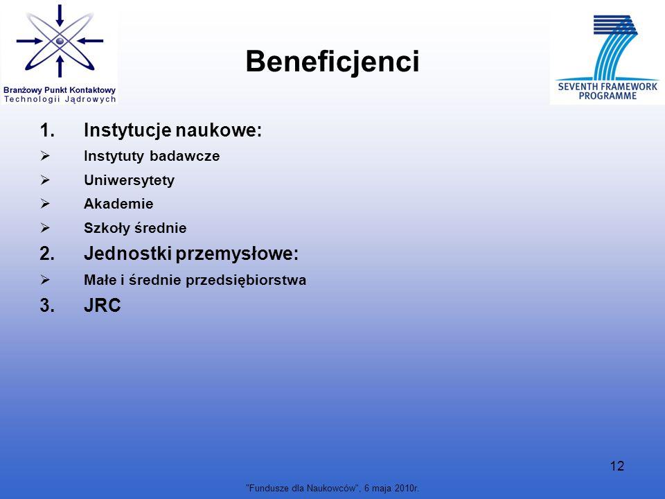 Fundusze dla Naukowców , 6 maja 2010r.