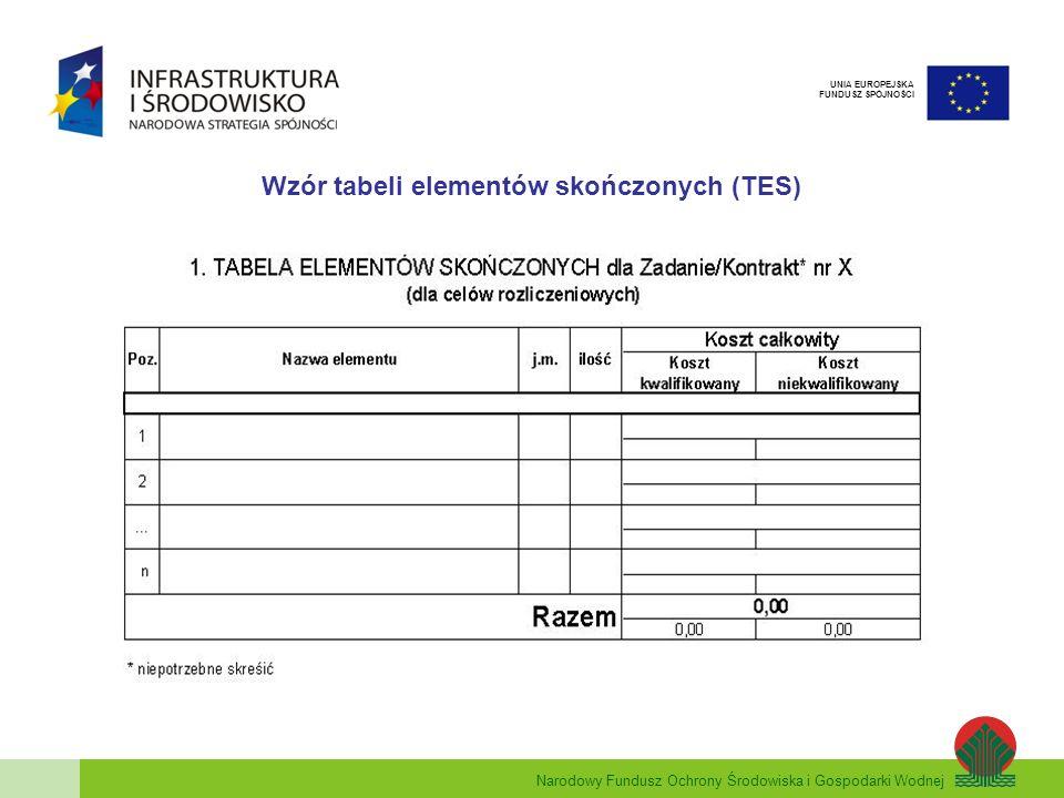 Wzór tabeli elementów skończonych (TES)