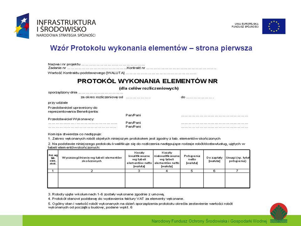 Wzór Protokołu wykonania elementów – strona pierwsza