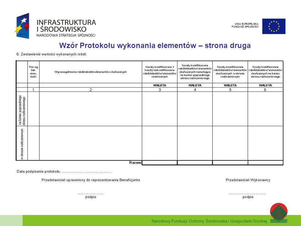 Wzór Protokołu wykonania elementów – strona druga