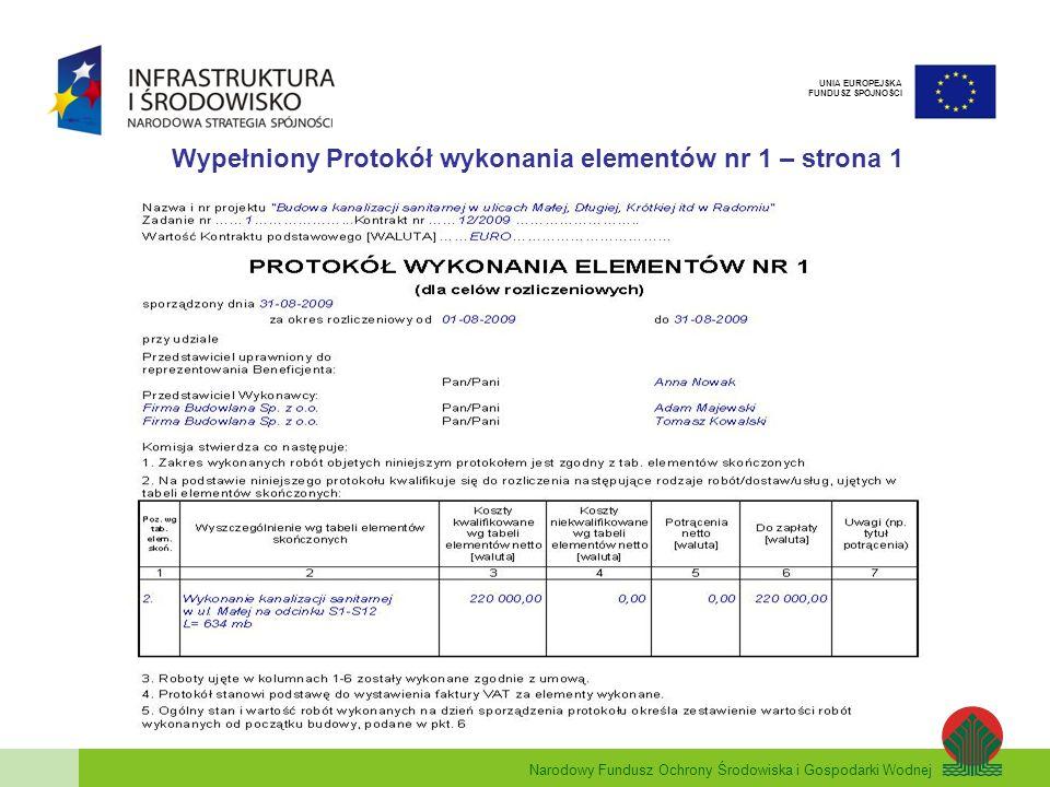 Wypełniony Protokół wykonania elementów nr 1 – strona 1
