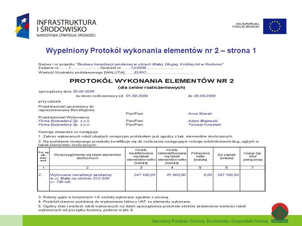 Wypełniony Protokół wykonania elementów nr 2 – strona 1