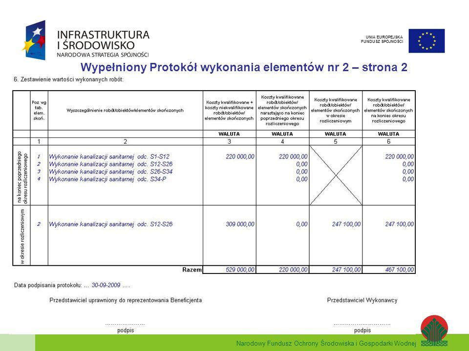 Wypełniony Protokół wykonania elementów nr 2 – strona 2