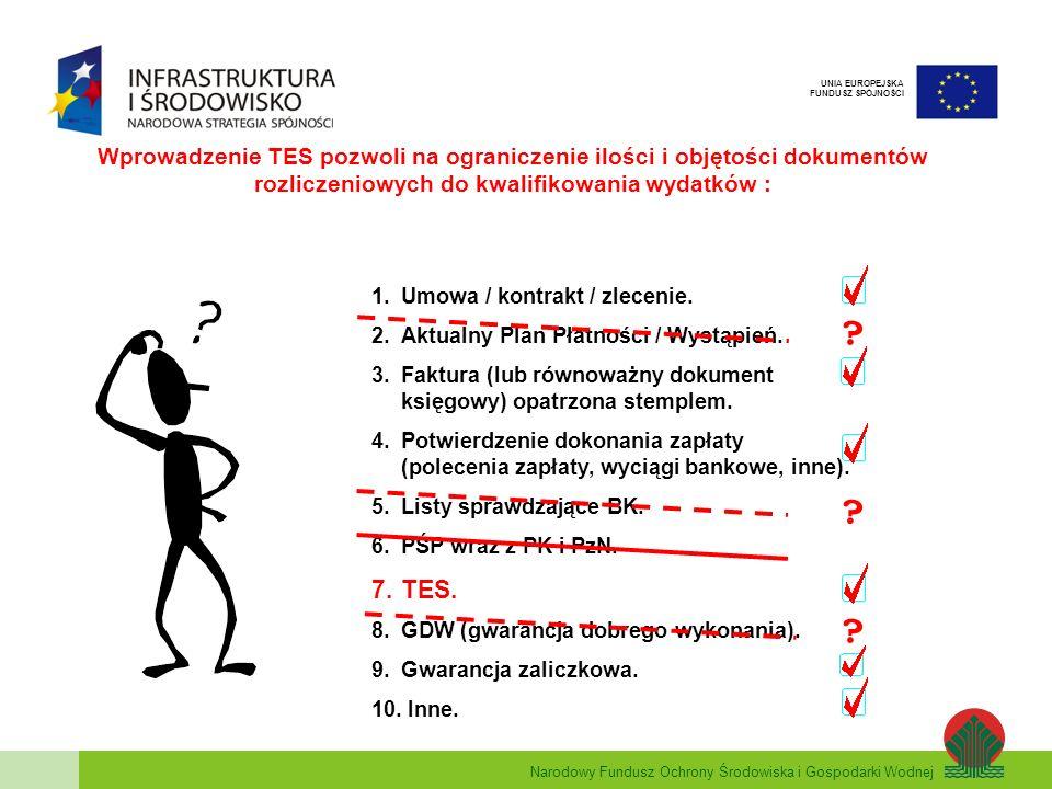 Wprowadzenie TES pozwoli na ograniczenie ilości i objętości dokumentów rozliczeniowych do kwalifikowania wydatków :